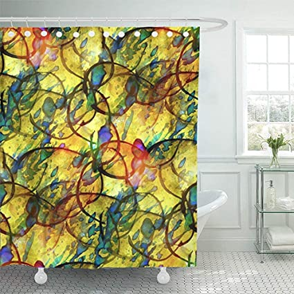 72quotx72quot Shower Curtain Waterproof Colorful Picasso Sunlight Blue Yellow Watercolor Vintage Abstract Retro