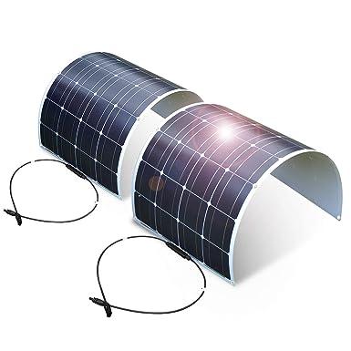 Dokio Juego de 2 piezas de panel solar de 100 W 12 V 24 V monocristalino flexible impermeable para furgoneta, autocaravana, caravana, barco, cabina, ...