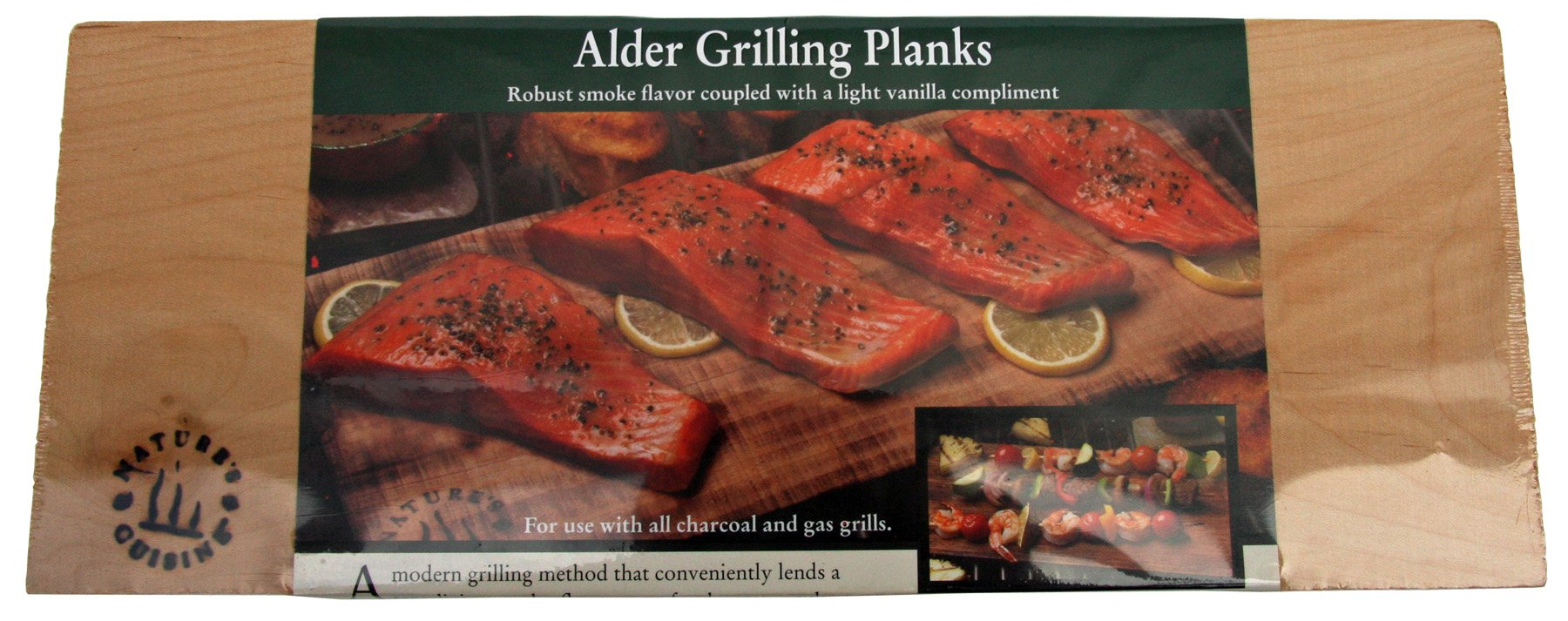 Nature's Cuisine NC005-4 14 by 5-1/2-Inch Alder Outdoor Grilling Plank, 4-Pack