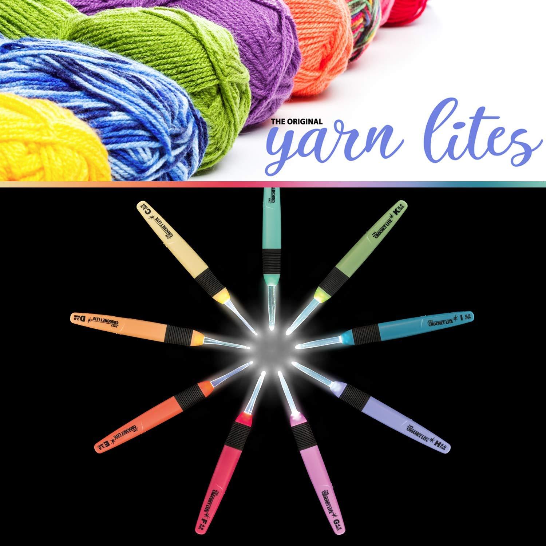Light Up Crochet Hook Set - The Original Crochet Hook Lights, Set of 9 Hooks by Yarn Lites (Image #8)