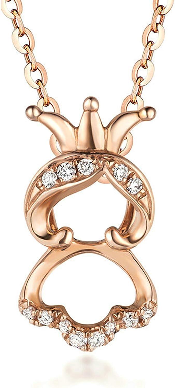 Epinki Oro 18K Mujer Collar de Diamantes Niña Corona Forma Colgante Joyería Nupcial Elegante Cadena de Mujer Rose Oro con Brillantes Diamantes