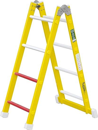 Escalera aislante de un tramo plegable. Permite su uso como escalera de un tramo o escalera de tijera, fabricada en fibra de vidrio. Según norma UNE-EN 131 (8 peldaños): Amazon.es: Bricolaje y