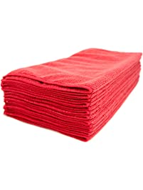 Zwipes Commercial H1-726 Premium Microfiber Cleaning Towel, 16-Inch x 16-Inch, Red (Pack of 12)