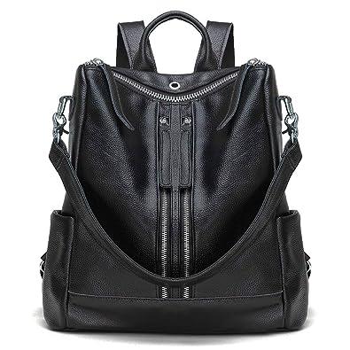0a8359202e3e Modoker Leather Travel Backpack Purse for Women Convertible Backpack Purse  Casual Shoulder Bag Black