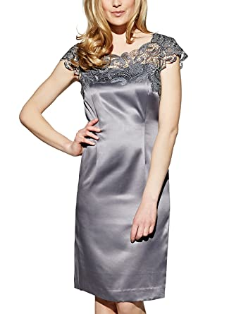 238495c11818 APART Fashion Damen Kleid Satinkleid, (grau), (Herstellergröße  44 ...