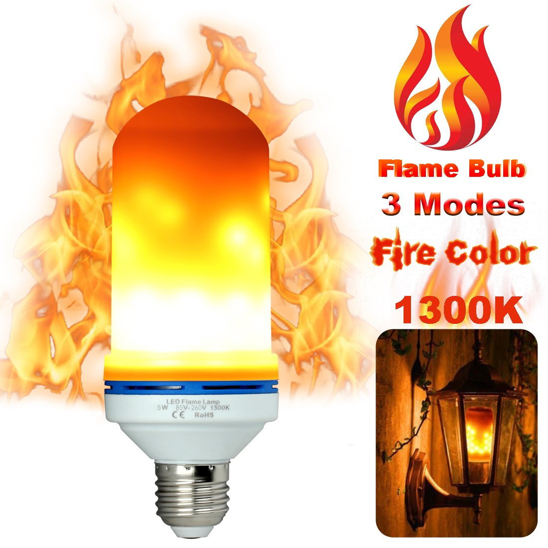 Led Flame Light Bulbs Fire Flicker Effect Lamp Decorative