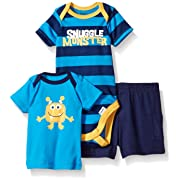 Gerber Baby Three-piece Bodysuit Lap-shoulder Shirt and Short Set, Snuggle Monster/Exclusive, New Born