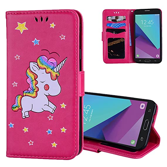 sports shoes 87e86 6282c Galaxy J3 Emerge Wallet Case / J3 Prime / J3 Eclipse / J3 Misson / Sol 2 /  Amp Prime 2 Cases Aeeque PU Leather Bling Unicorn Flip Cover with Card ...