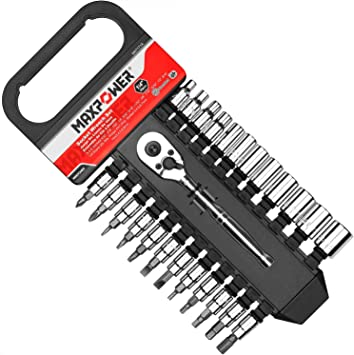 72 Teeth Quick Release Reversible Ratchet Handle Swappable Spanners MAXPOWER 12-Piece 3//8 SAE Ratcheting Socket Wrench Set 3//8-Inch Imperial Inch Sockets and 3-Inch Extension Bar with Hanging Rack