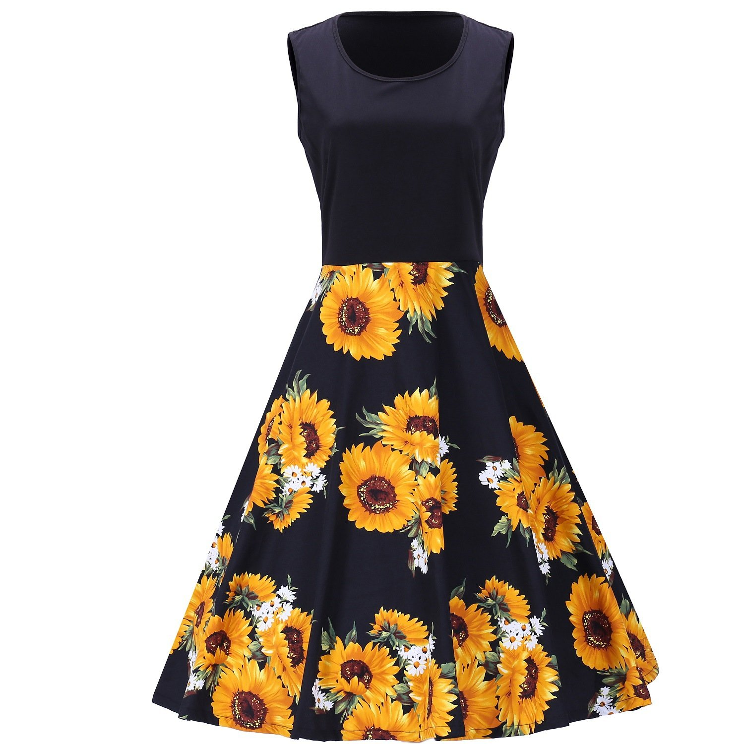 3655088ce691 BaronHong Women's Round Neck Sleeveless Sunflower Printing Summer Casual  Sundress Flare Dress at Amazon Women's Clothing store: