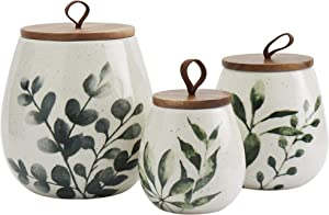Tabletops Gallery Ceramic Canister Collection- Stoneware Designed Embossed Acacia Wood White Set, 3 Piece Green Leaf Canister Set