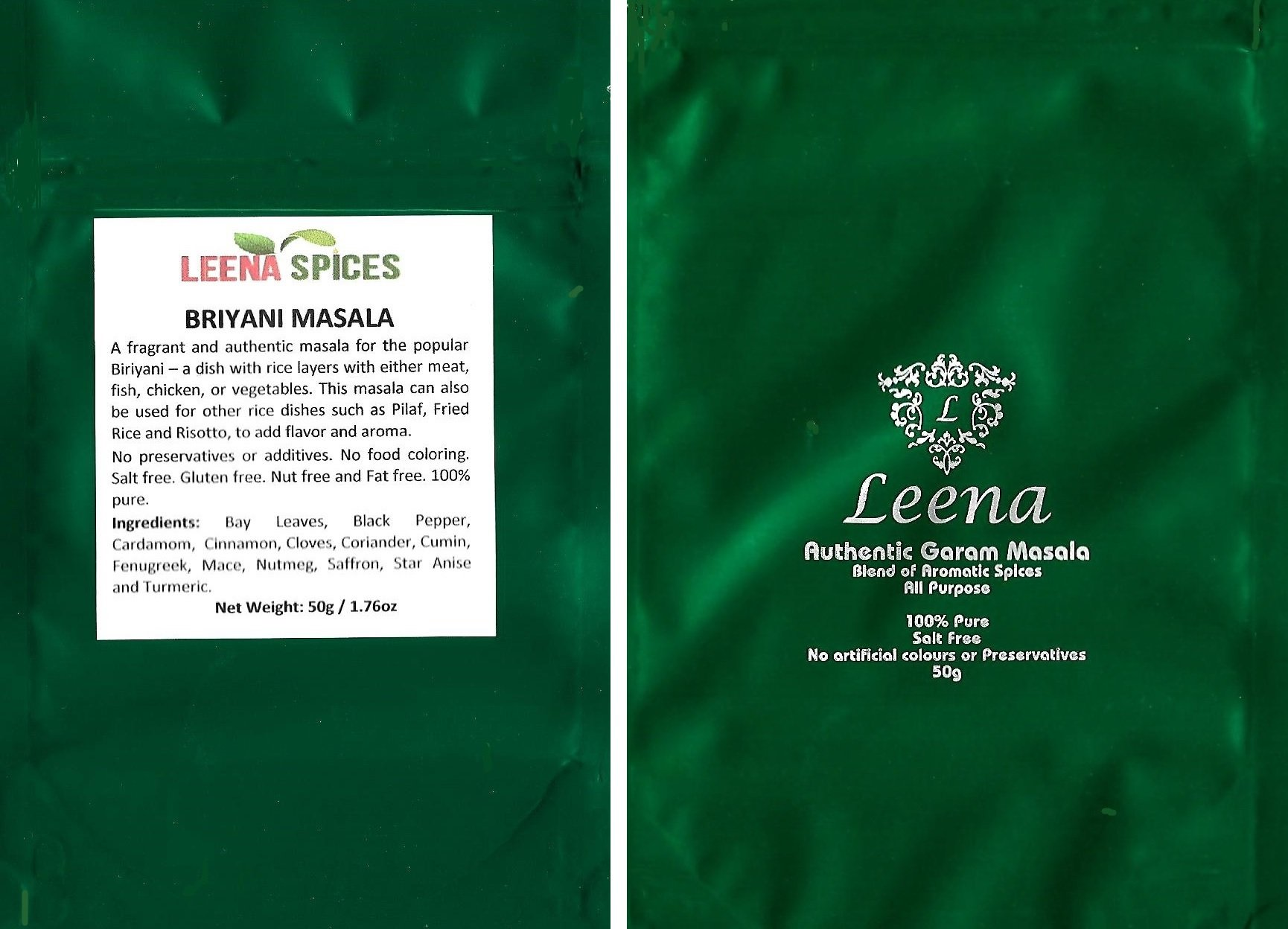 LEENA SPICES - Biryani Spice And Garam Masala - Gluten Free Blend - No Food Color - With Chicken Briyani Recipe - Enjoy Authentic And Pure Quality Products.