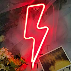 Lightning Neon Signs for Wall Decor,USB or Battery Decor Light,Neon Light for Bedroom,LED Neon Decorative Lights for Christmas,Party,Girls Living Room (Red)