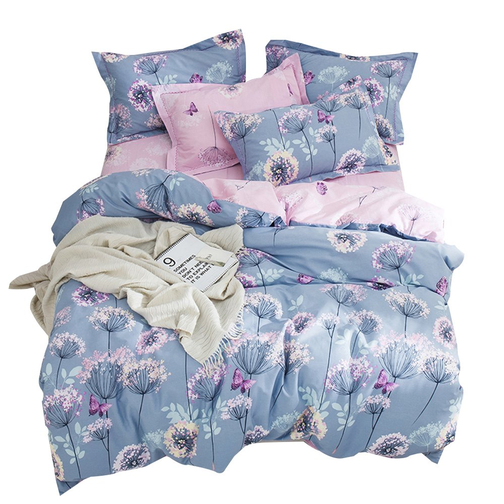 OTOB Flower Girls Twin Bedding Duvet Cover Sets Cotton Kids Toddler Women Cartoon Butterfly Dandelion Print Floral Reversible Teen Bedding Sets Twin Fairy Princess Pink Purple