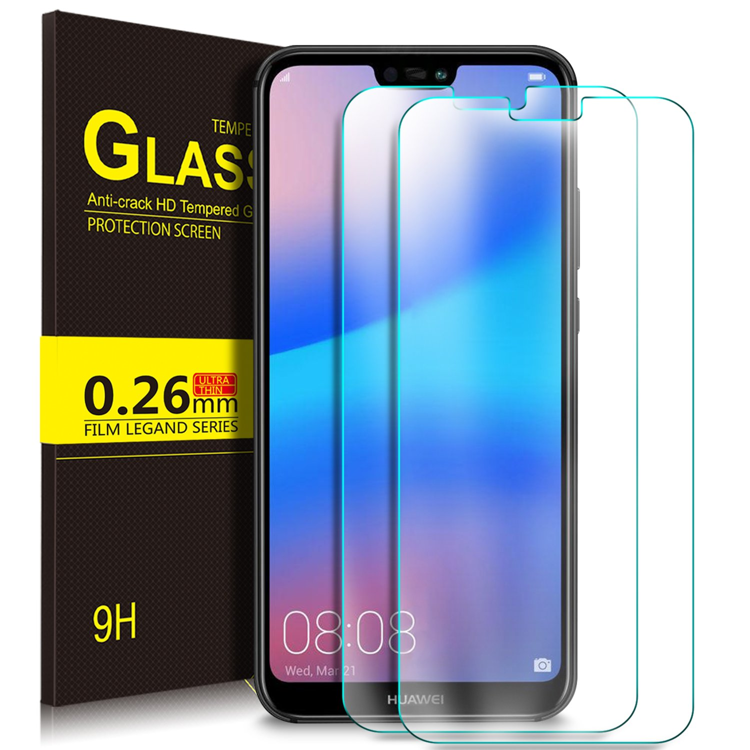 Huawei P20 Lite Film, KuGi Protective Film Protective Film [Anti-Reflection & Anti-Bubble] [9H Hardness] for Huawei P20 Lite (2 Pieces)