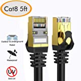 Cat 8 Ethernet Cable 5 ft Shielded, 26AWG Lastest 40Gbps 2000Mhz SFTP Patch Cord, Heavy Duty High Speed Cat8 LAN Network RJ45 Cable- in Wall, Outdoor, Weatherproof Rated for Router, Modem, Gaming