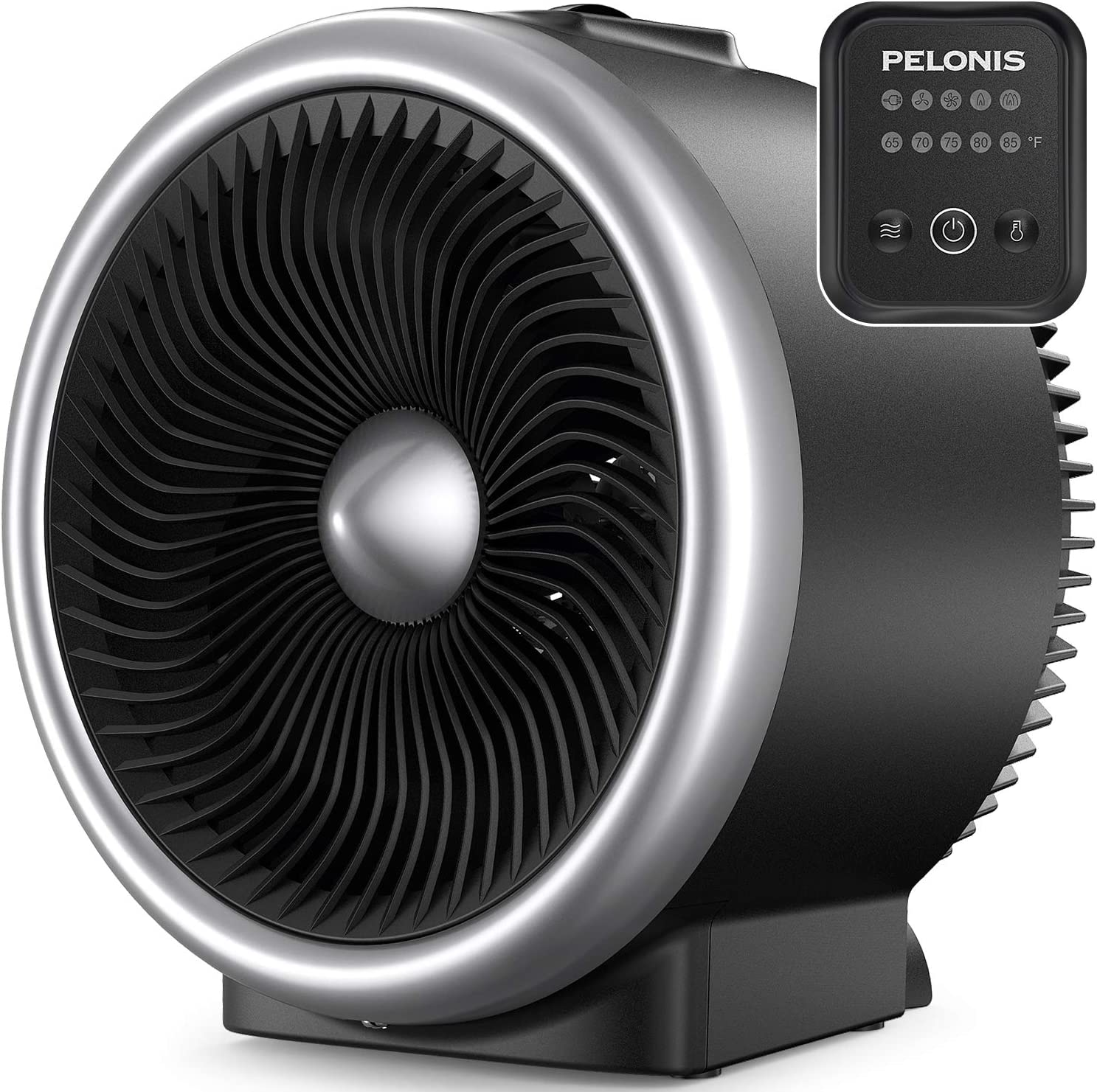 Auto Tip-Over /& Overheat Protection for All Seasons /& Whole Room Use PELONIS PSH750S Table Circulation Fan with Heating Function Electronic Adjustable Thermostat Space Silver