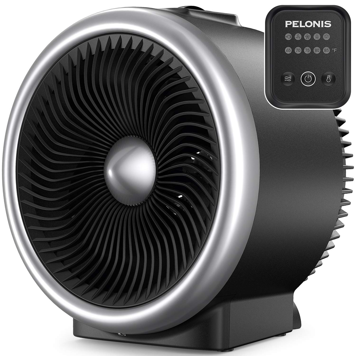 PELONIS PSH750S Space Heater with Air Circulator Fan, 2-In-1 Vortex Heater With Electronic Adjustable Thermostat, ETL Listed, Auto Tip-over & Overheat Protection for All Seasons & Whole Room Use