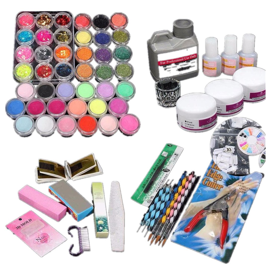Dolloress Nail Tips ⭐42PCS/ Set Great Value Combo Pack Professional or Home Use Acrylic Glitter Color Powder French Nail Art Decoration Tips Set