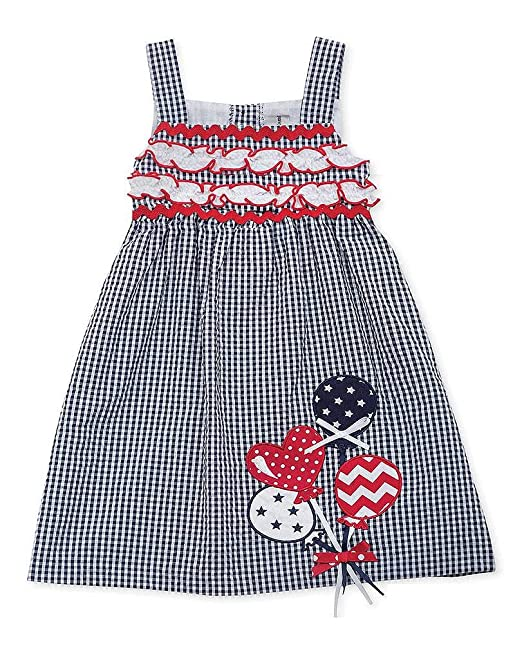 87c337b29 Rare Editions Baby-Girls Infant Navy Red BALLOONS Applique Seersucker Dress,  12 Months