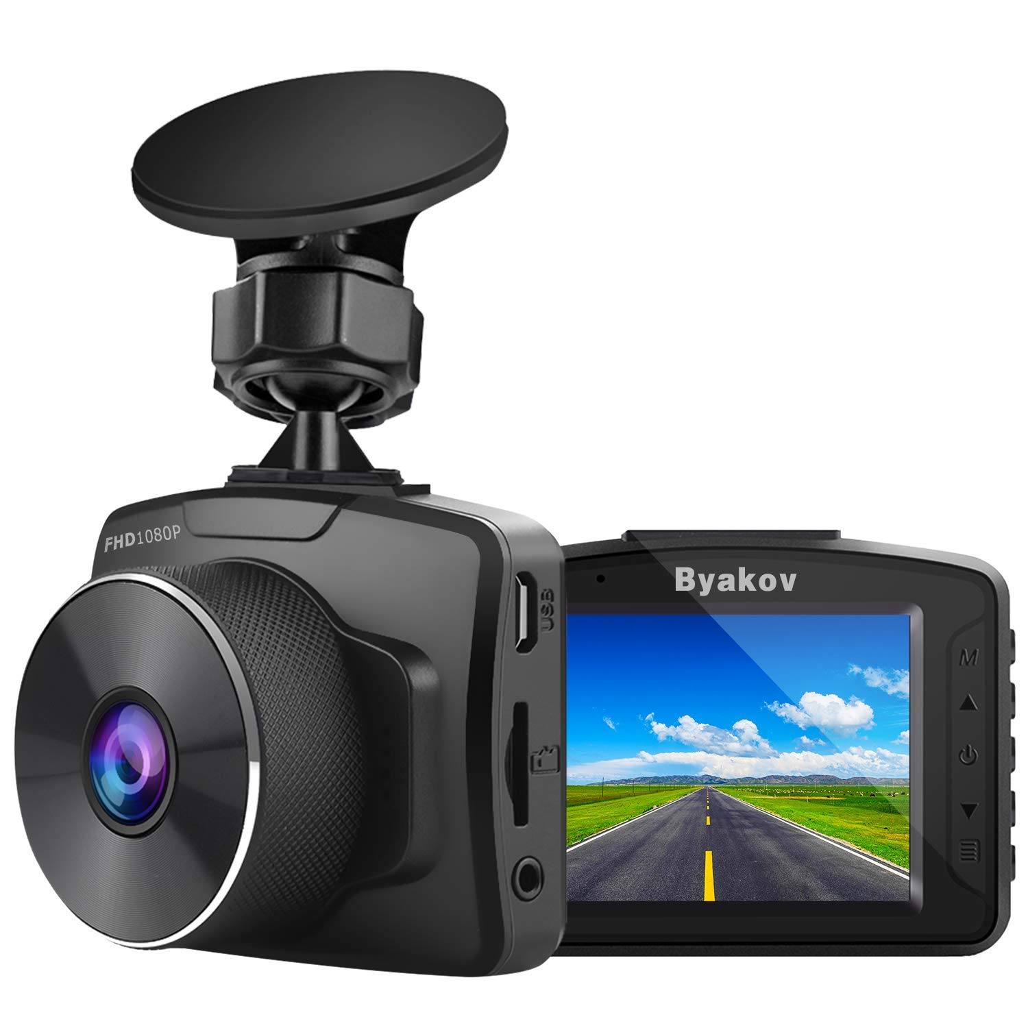 Byakov Upgraded Dash Cam, 2 inch LCD Screen 1080P Full HD Dash Camera for Cars with G-Sensor, WDR, Loop Recording, 170°Wide Angle, Night Vision, Motion Detection