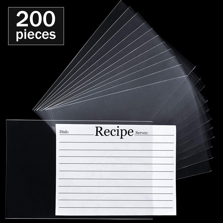 200 Pieces Recipe Card Protectors Kitchen Plastic Recipe Sheet Protectors Clear Recipe Page Protector 4 x 6 Inch