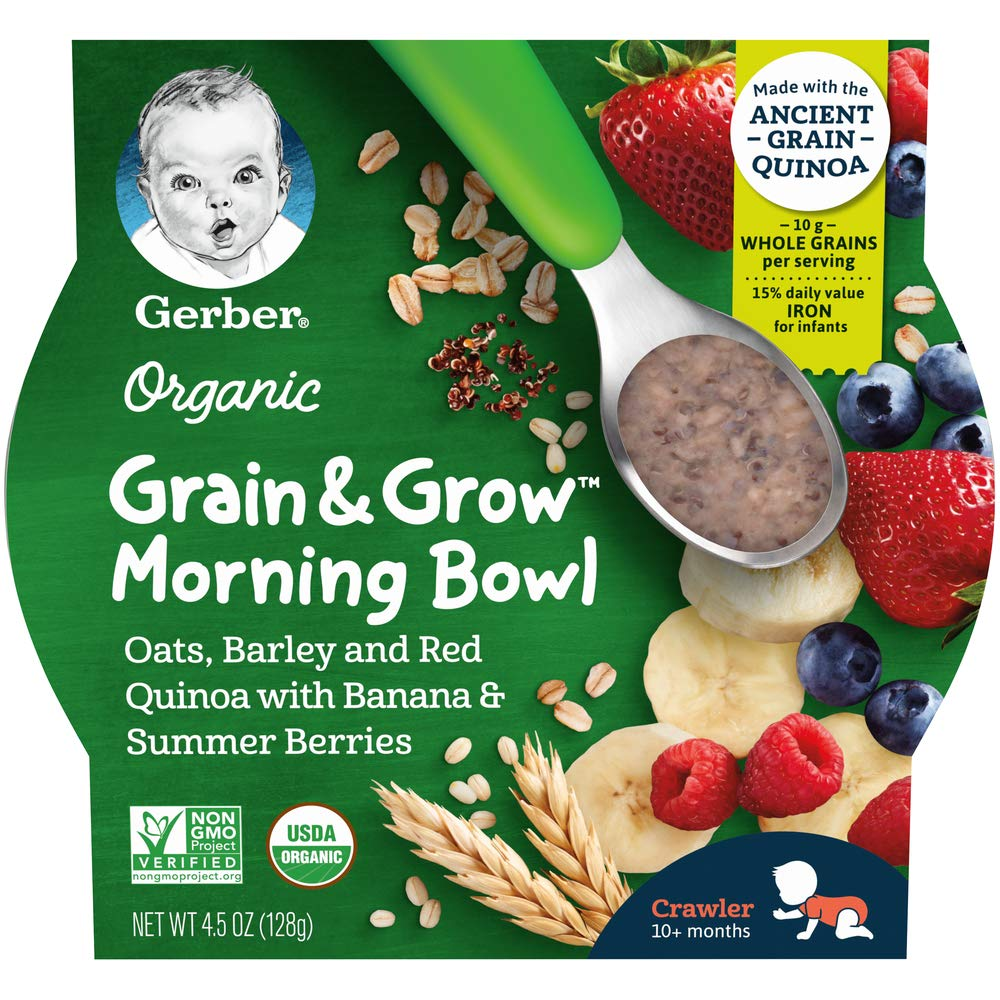 Gerber Up Age Organic Grain & Grow Morning Bowl Oats Barley & Red Quinoa With Banana & Summer Berries, 8 Count