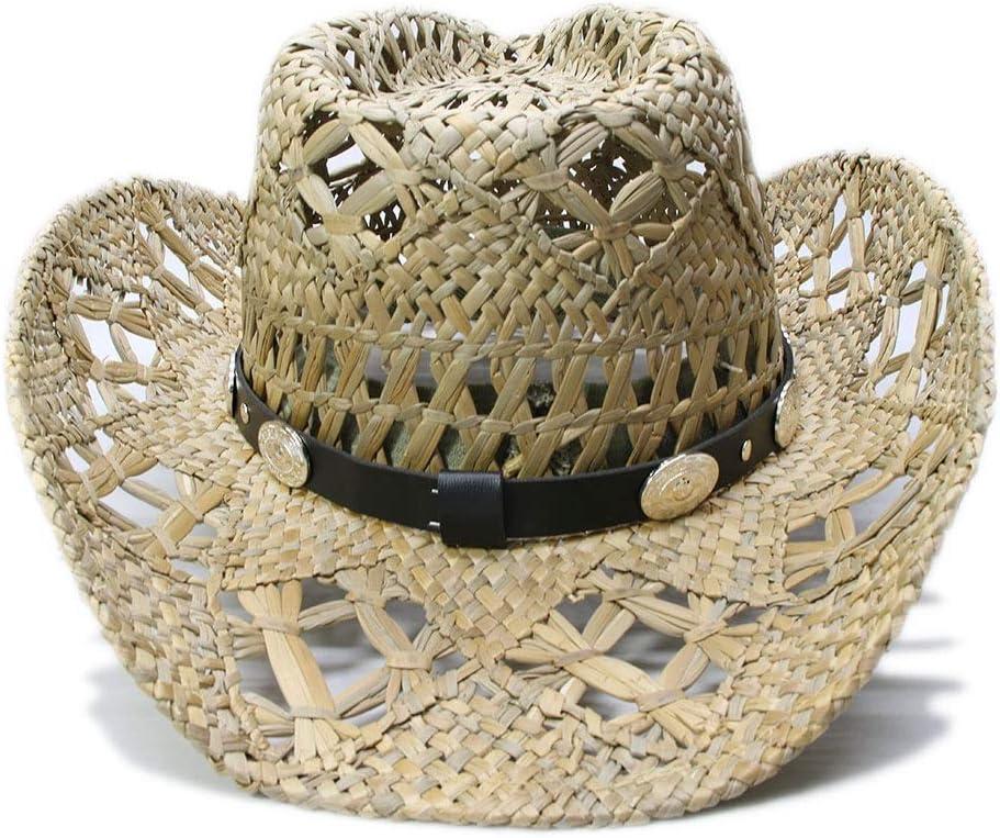 Qiang Dong 2019 Retro Sun Hat Donna Uomo Estate Paglia Spiaggia Tesa Larga Cowboy Western Cowgirl Cappello Hollow Due Pistole Cartello Pelle Band 56-58 cm 1 56-58 cm