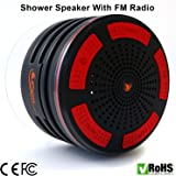 iFox iF013 Bluetooth Shower Speaker - 100% Waterproof Shower Radio. Wireless It Pairs To All Bluetooth Devices - Phones, Tablets, Computer, Games - Black
