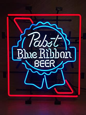 Super Bright New Pabst Blue Ribbon Sign Handcrafted Real Glass Neon Light Sign Home Beer Bar Pub Recreation Room Game Room Windows Garage Wall Sign