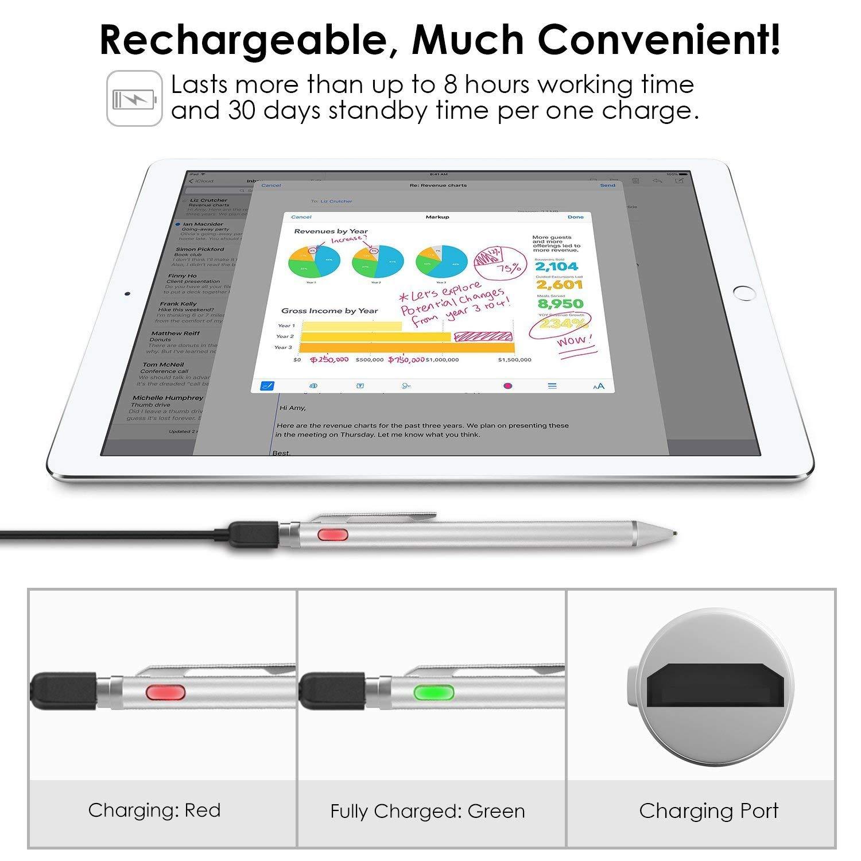 Flybiz Stylus Precisión, Punta Extra Fina 1.45mm Stylus Pen Pluma Capacitiva, Bolígrafo Digital Stylus Recargable para Pantalla Táctil iPhone, iPad, ...