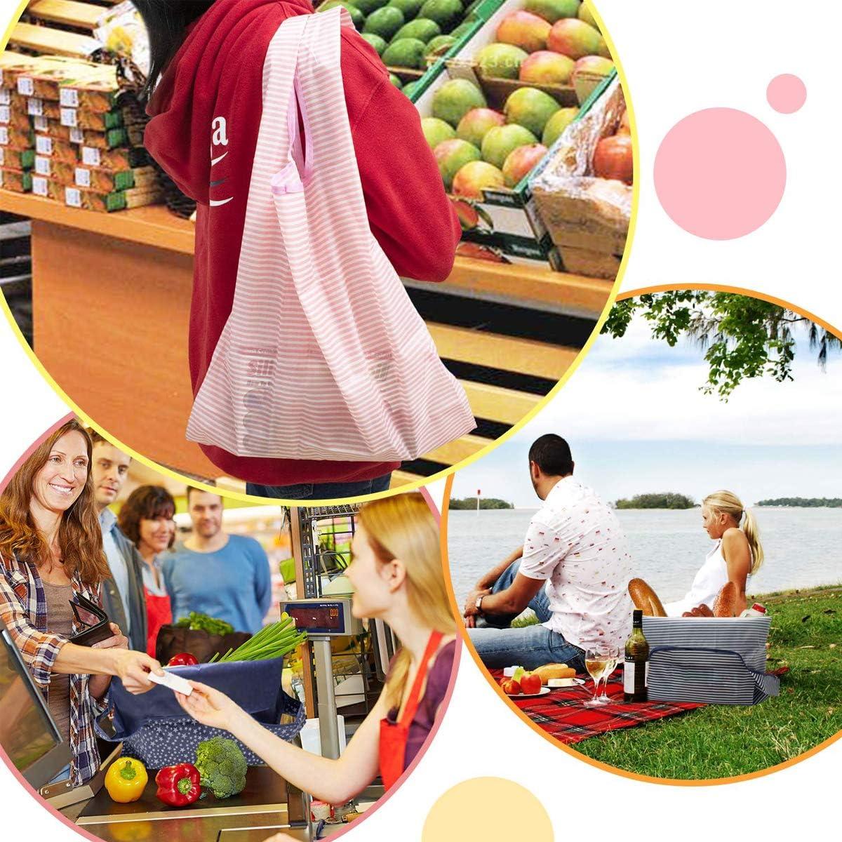 GonLei - Bolsas reutilizables para comestibles, 6 unidades, ecológicas, grandes, plegables, resistentes y lavables, bolsas de regalo para el día de la madre, bolsas de nailon impermeables para bolsas de compras pesadas: