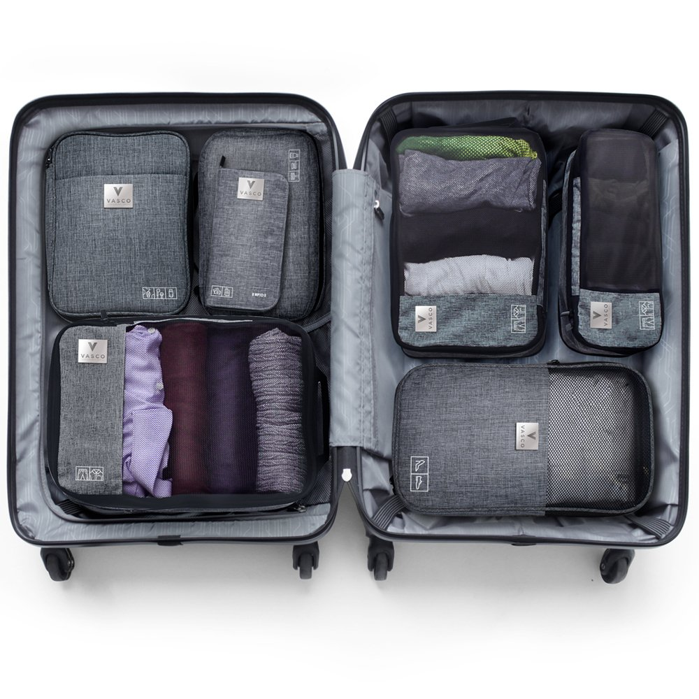 VASCO Travel Packing Cubes Set: Waterproof Travel Packing Organizer Set Of 3 Compression Cubes + Travel Shoes Bag + Hanging Toiletry Bag + Electronics Cube + Travel RFID Wallet| Top Travel Gear Kit by Vasco