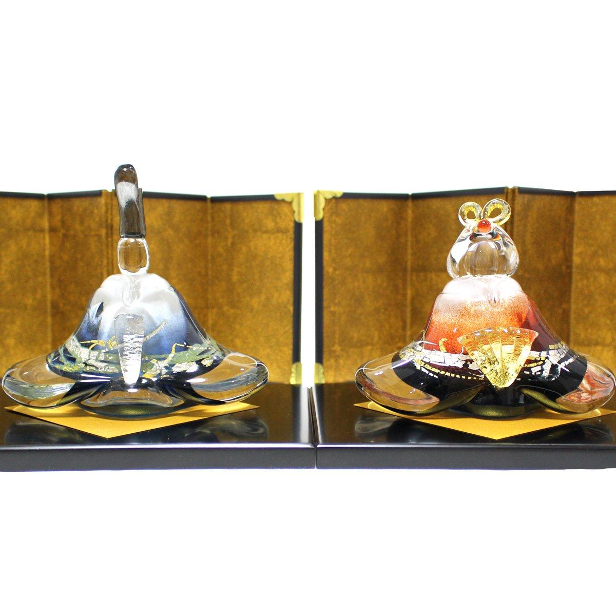 ガラスのお雛様 glass calico グラスキャリコ 富士雛 ハンドメイド ガラスアート 雛人形 ひな人形 おひなさま 桃の節句 オブジェ コンパクト   B01N5PDG2H