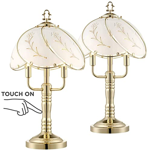 Modern Accent Table Lamps 19 1 2 High Set of 2 Touch On Off Polished Brass Flower Glass Shade for Bedroom Bedside Office – Regency Hill