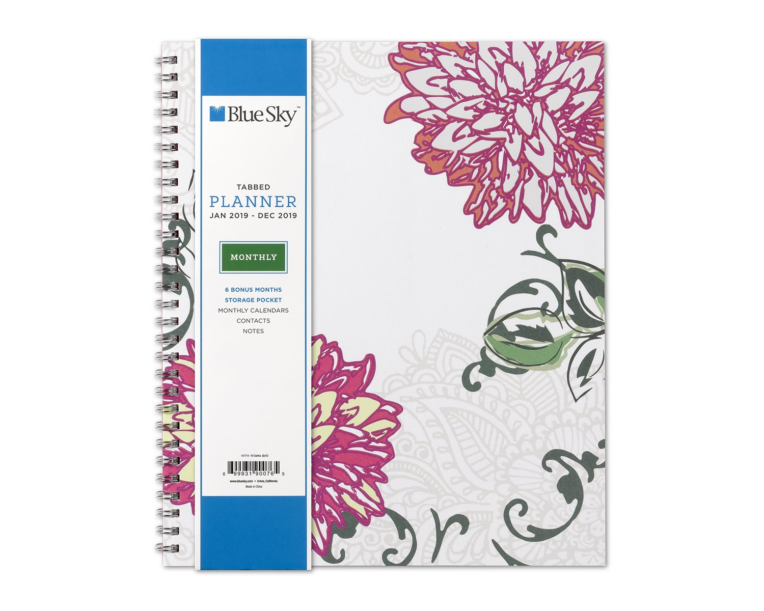 Blue Sky 2019 Monthly Planner, Flexible Cover, Twin-Wire Binding, 8'' x 10'', Dahlia (101711-19)
