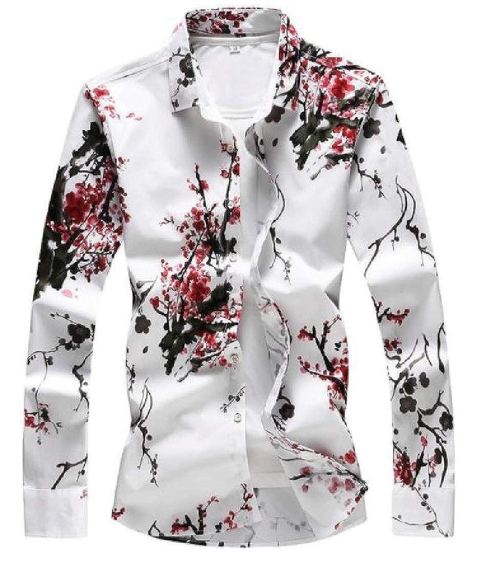 willwinMen WillingStart Men Long-Sleeve Spring//Autumn Floral Print Ethnic Style Plus Size Shirt