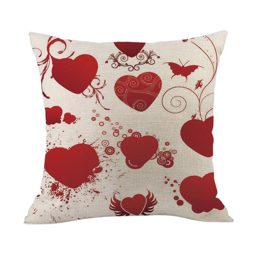 Hmlai Valentine's Day Gift Fashion Throw Pillow Cases Cotton Linen Cafe Sofa Cushion Cover Home Decor,18''x18'' (F)