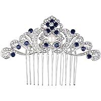 Ever Faith Wedding Flower Wave White Simulated Pearl Hair Comb Clear Austrian Crystal Silver-Tone N04185-1