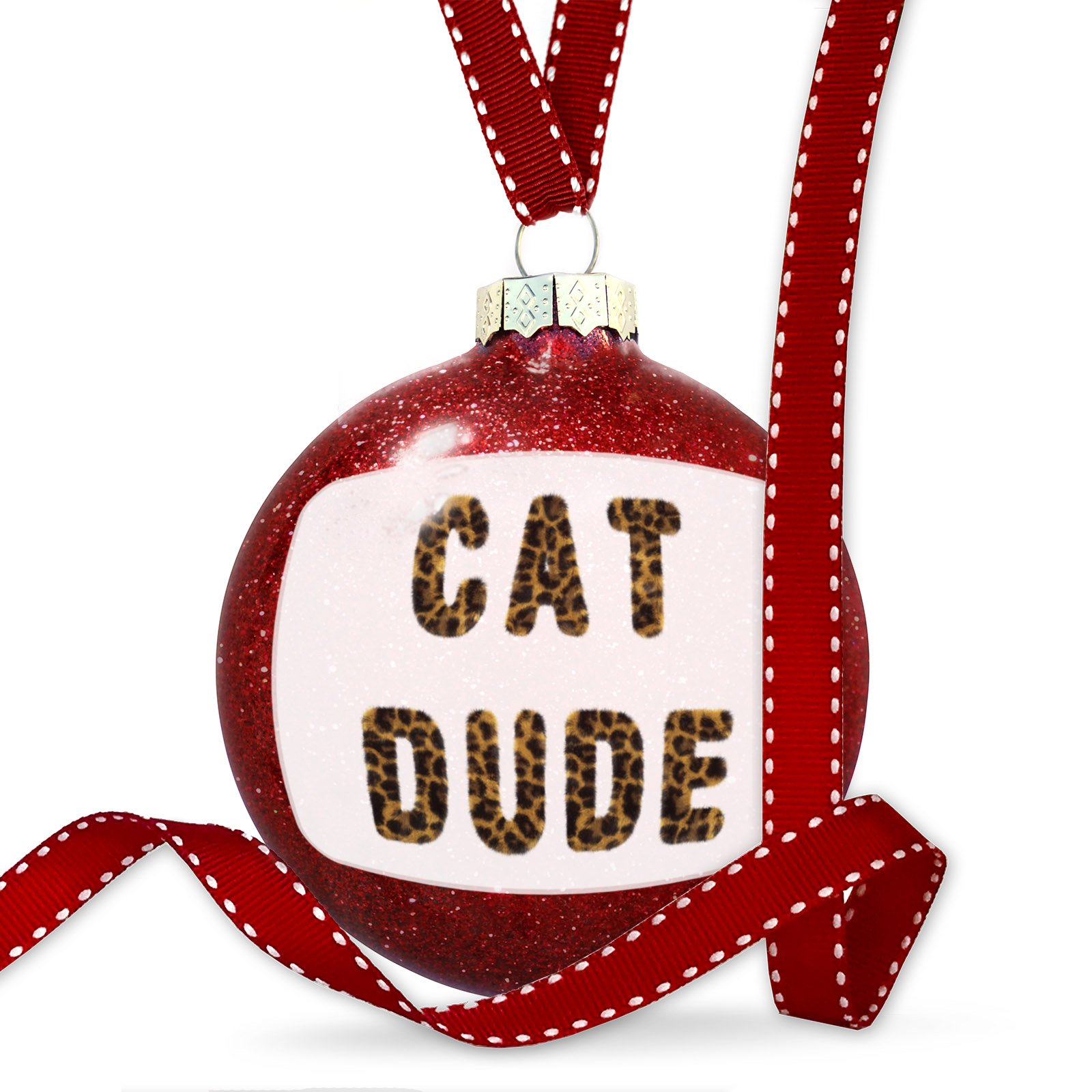 Christmas Decoration Cat Dude Cheetah Cat Animal Print Ornament by NEONBLOND