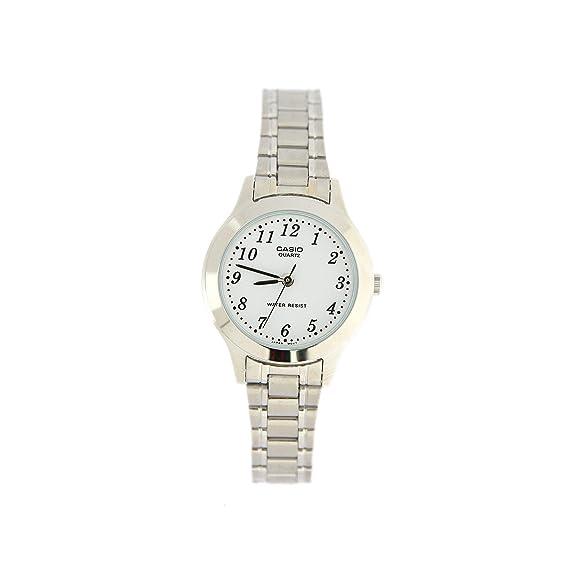 Casio LTP-1128A-7BEF - Reloj analógico de Cuarzo para Mujer con Correa de Acero Inoxidable, Color Plateado
