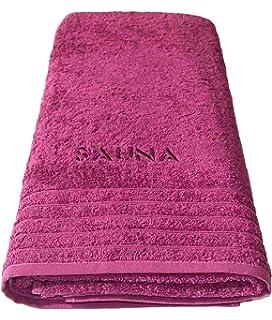 Wellness Toalla de sauna orquídea – Rosa lila, XXL – Toalla para sauna bordada con