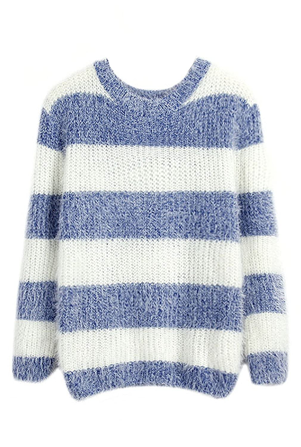 URqueen Women's Mohair Striped Long Sleeve Pullover Knit Sweater