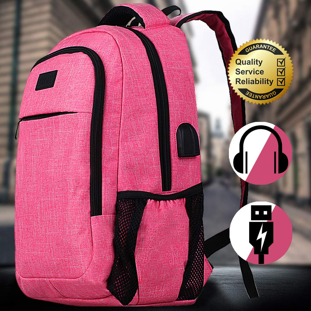 Laptop Backpack Travel Backpack School Backpack Bags for Women,Daypack College Water-Resistant Backpack Bags Book Bag with USB Charging Port&Headphone Connector Fits Under 17 '' Laptop,Pink (Pink) by Bigacc