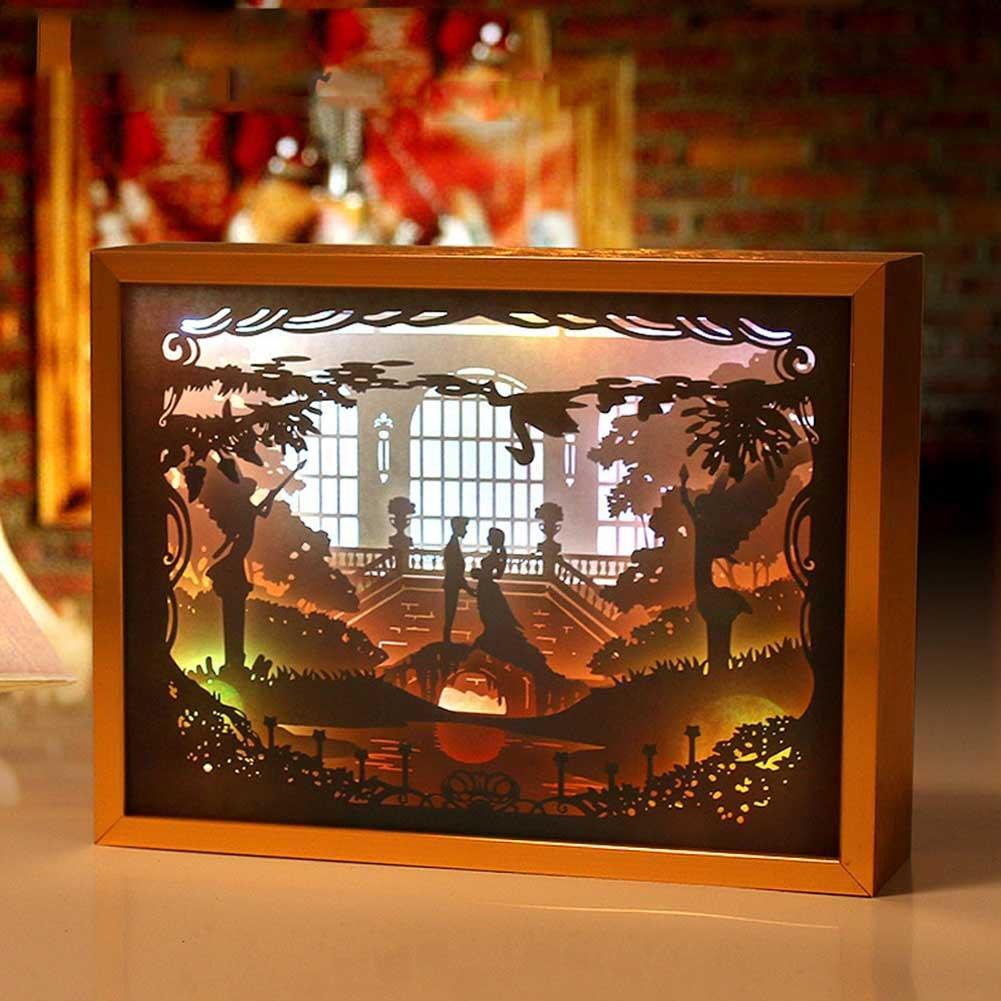 LED Night Light Paper Carved Lights, AOKOALA 3D Metal Bedside Lamp, USB Decoration Lights for Bedroom Coffee Bar , Gold