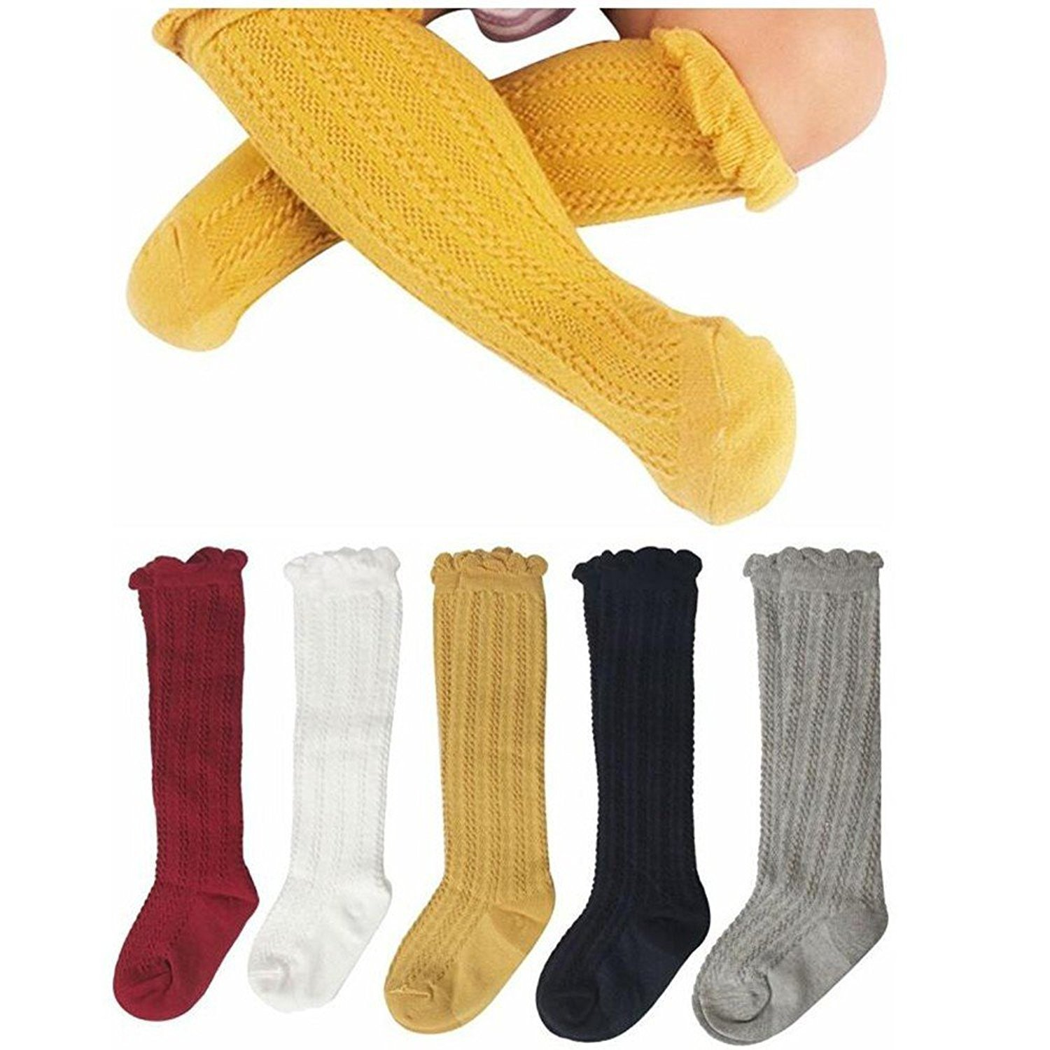 Gellwhu Cable-Knit Knee High Cotton Socks For Newborn Baby Girls Boys Toddlers 5- Pack (0-12 Months)