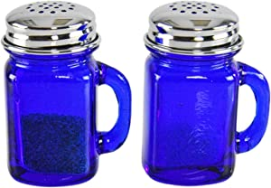 """HOME-X Mini Retro Jars Cobalt Blue Glass Salt and Pepper Shakers with Lids and Handle, Old-Fashioned Décor, Depression Style, Square-2 5/8"""" L x 2"""" W"""