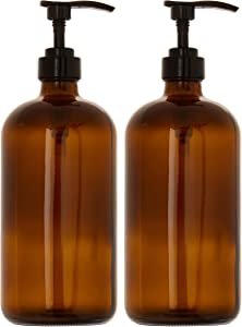 kitchentoolz 32-Ounce Large Amber Glass Boston Round Bottles w/Black Pumps. Great for Lotions, Soaps,Oils, Sauces - Food Safe and Medical Grade (Pack of 2 Bottles)