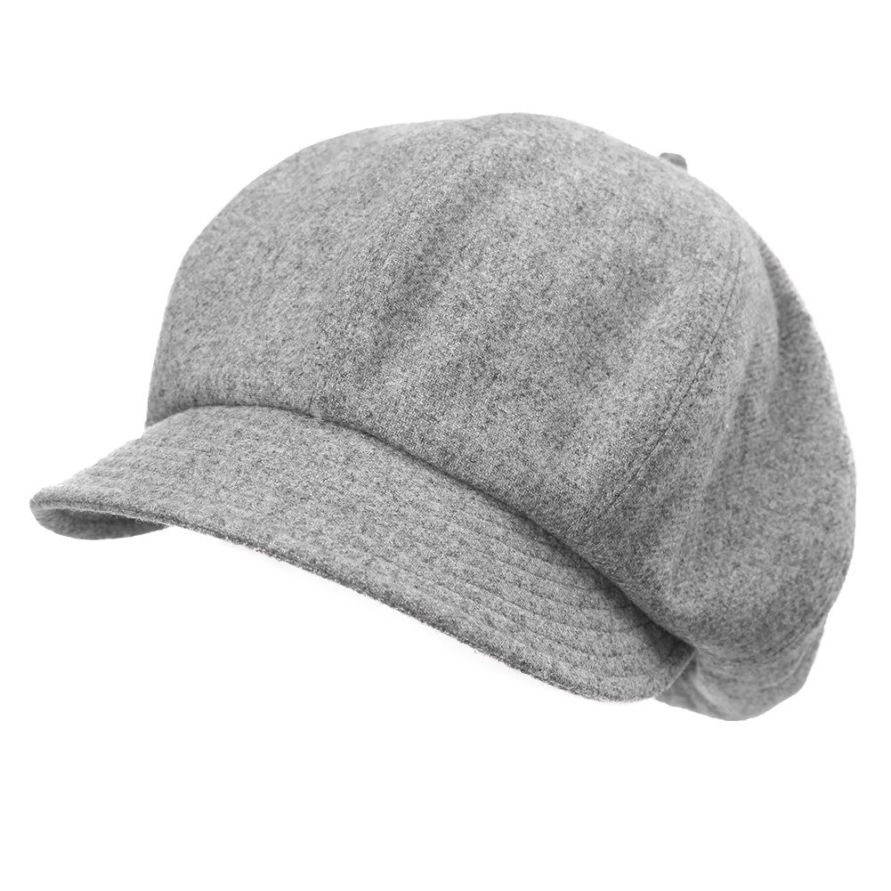 Newsboy Cap for Women 51% Wool Winter Hat Ladies Visor Beret Cloche Hats Cold Weather Hat Lined Grey Gray