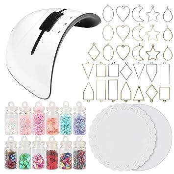 Amazon.com: UV Resin Jewelry Making Supplies Set 36W UV Lamp ...